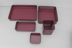 """Schreibtisch-Set """"Nic Nac"""" 5 tlg. Stahl pulverbeschichtet dunkelrot 2 4 - 13 cm 10 - 34 cm 10"""